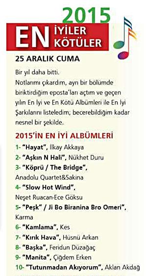 Aklan Akdağ'ın Tutunmadan Akıyorum Albümü Milliyet Sanat'ta Naim Dilmener'in 2015 En İyi 10 Albümü Listesinde